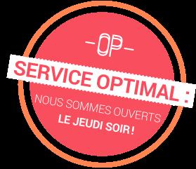 Service optimal : nous sommes ouverts le jeudi soir!